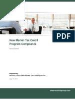 New Market Tax Credit Program Compliance, CDE