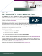 2011 Round of NMTC Program Allocations Opens