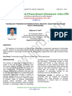Technology Transfer in Pharmaceutical Industry Objective,Issues and Policy Approaches