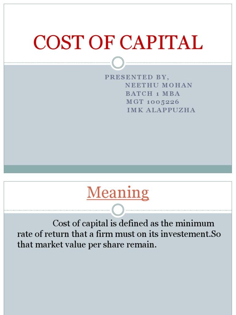 Cost of Capital   Cost Of Capital   Capital Budgeting