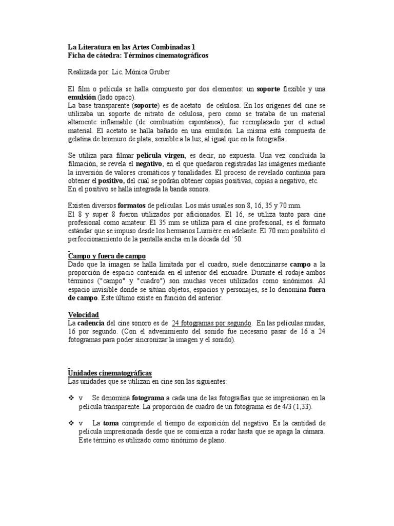 Ficha de cátedra Términos cinematográficos - Gruber
