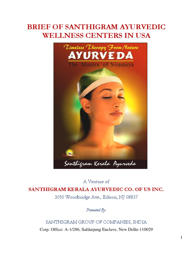Brief of Santhigram Ayurvedic Centers in US   Ayurveda