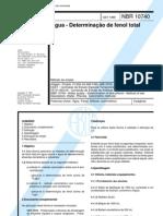 NBR 10740 - 1989 - Agua - Determinacao de Fenol Total