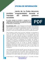 El Ayuntamiento de La Zubia denuncia posibles irregularidades durante el mandato del anterior gobierno socialista