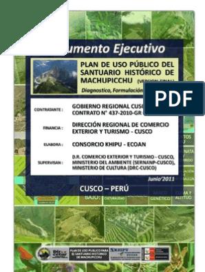 Plan De Uso Público Diagnostico Final Junio Machu Picchu