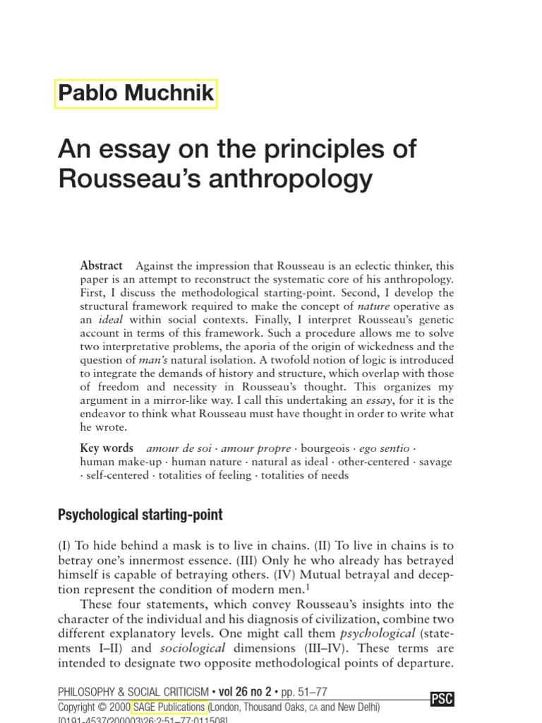 rousseau human nature essay