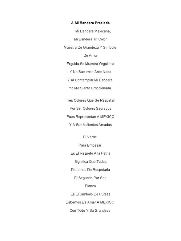 Poesia A La Bandera De Mexico Para Niños De Primaria ...