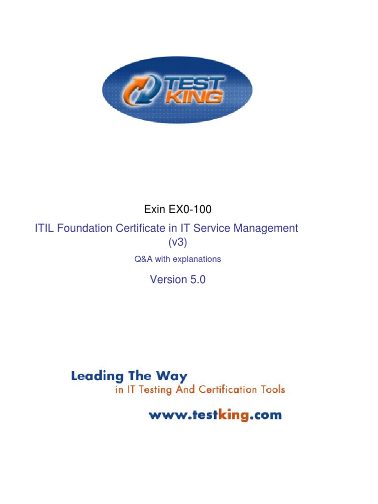Itil Foundation Exam Questions Ebook