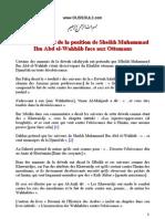 Eclaircissement de La Position de Sheikh Muhammad Ibn Abd El-Wahhâb Face Aux Ottomans