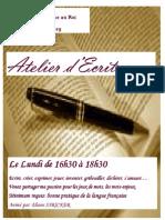 Afiche Atelier Ecriture