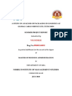 A Study on Analysis of Packaging in Logistics at Global Cargo Service Ltd
