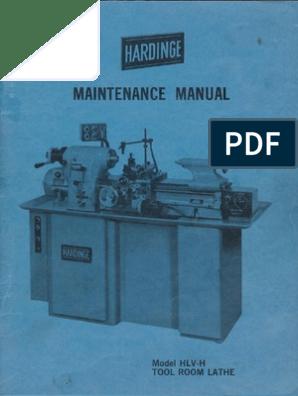 Hardinge HLV-H Maintenance Manual on