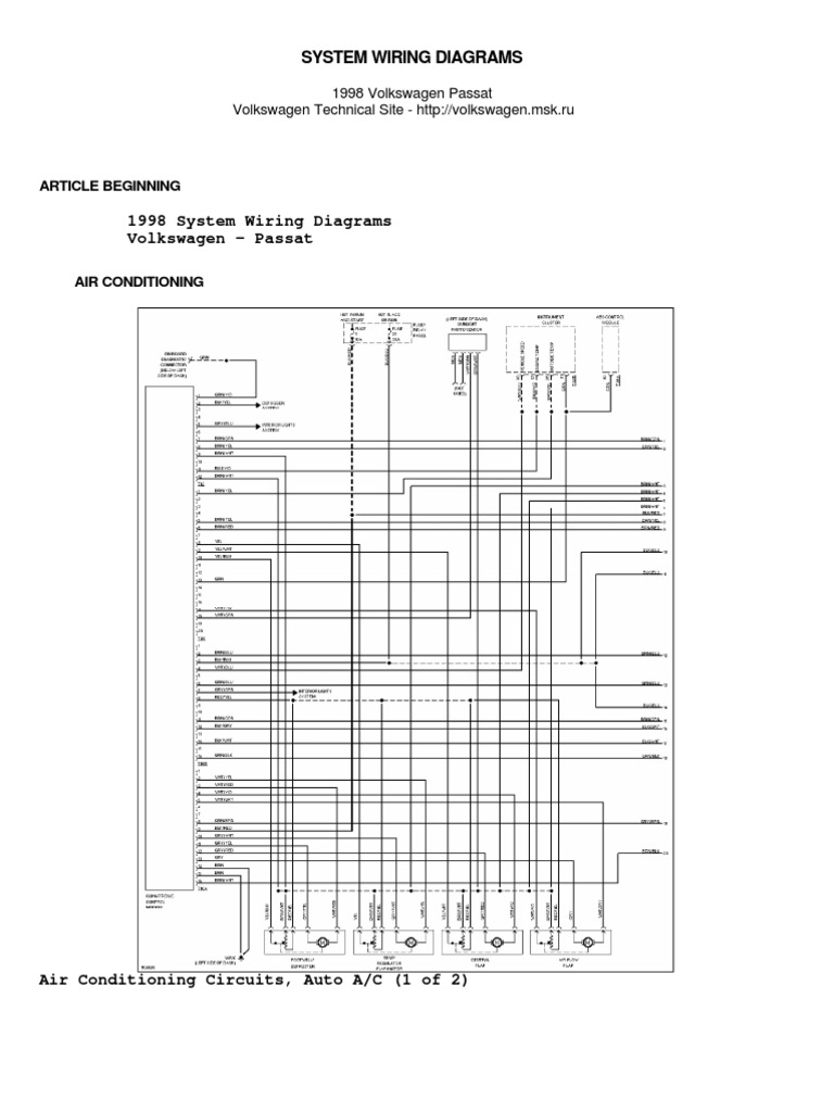 Vw Passat B5 1998 System Wiring Diagrams  Schematy By