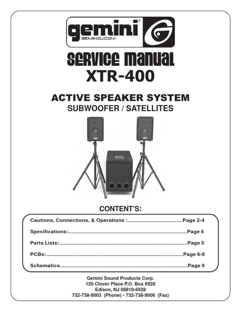 Gemini - Active Speaker XTR-400 - Service Manual   Loudspeaker   Amplifier