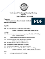 Speech Workshops Planning Meeting Agenda