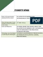 Smoking and Alcoholism Student's Work