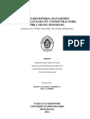 Analisis Kinerja Manajemen Persediaan Pada Pt United R