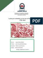 Lucha por la libertad y el oro en el Perú Bórbonico 1750-1824.