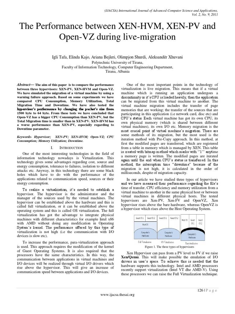 Paper 20 The Performance Between Xen Hvm Xen Pv And Open Vz