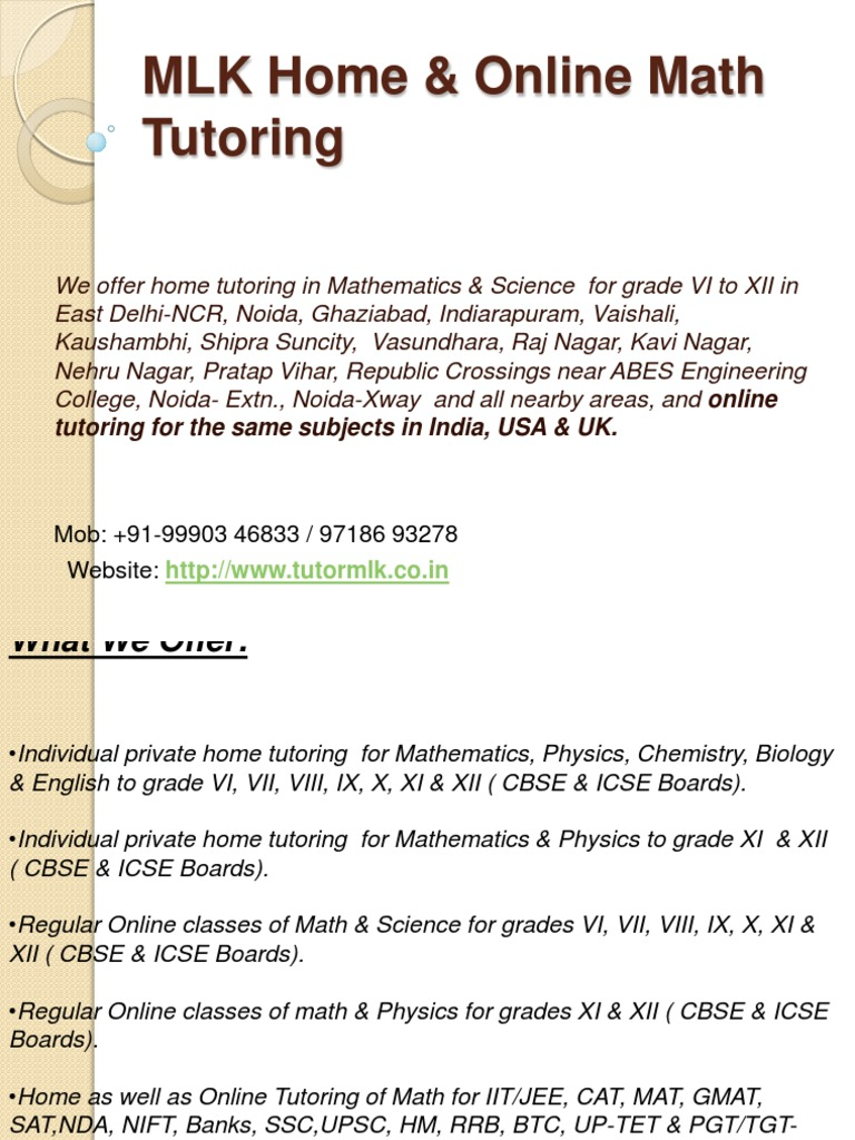 MLK Home & Online Math Tutoring Pp | Payments | Cheque