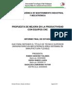 Propuesta de Mejora en La Productividad Con Equipos CNC