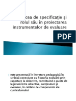 matricea de specificatii