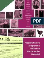 Présentation du programme officiel du Baccalauréat Anglais 2011-12