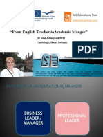 From English Teacher to Academic Manager, 2011, Cambridge, UK