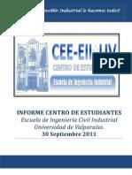 INFORME CENTRO DE ESTUDIANTES Escuela de Ingeniería Civil Industrial Universidad de Valparaíso