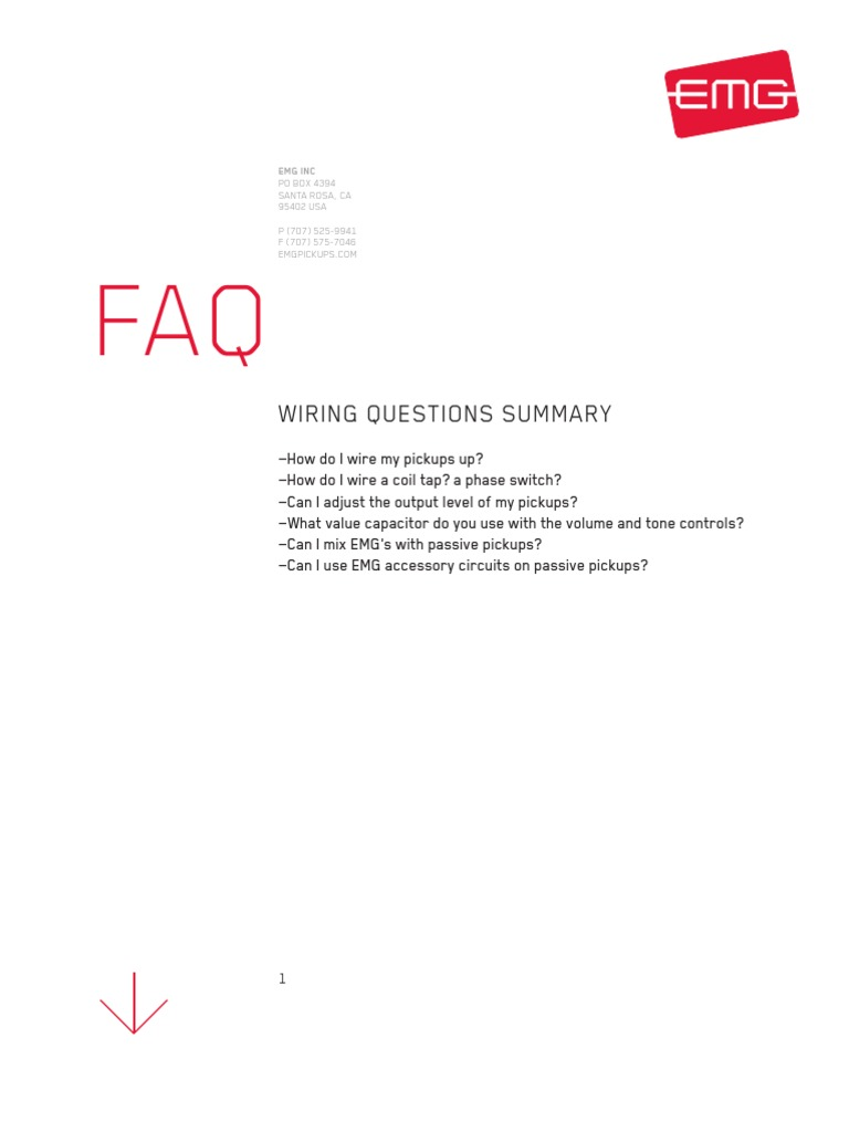 Emg Faq Wiring Questions Electronics Manufactured Goods Single Coil Pickups Diagram