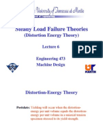 Steady Load Failure Theories (Distortion Energy Theory)