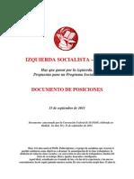 IS-PSOE. Documento de Posiciones. 15-09-2011.-