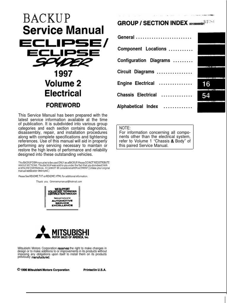 97-99 mitsubishi eclipse Electrical manual | Troubleshooting ...