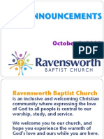Coming Events at Ravensworth Baptist Church, 10/2/11