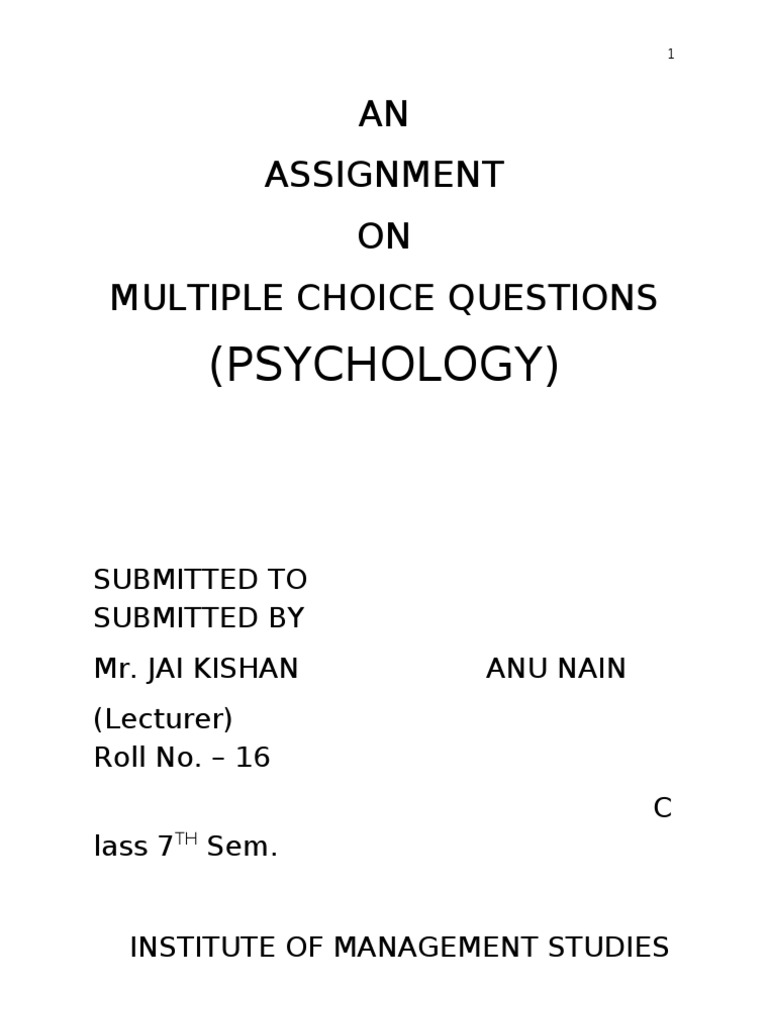 Assignment of Multiple Choice Questions Psychology