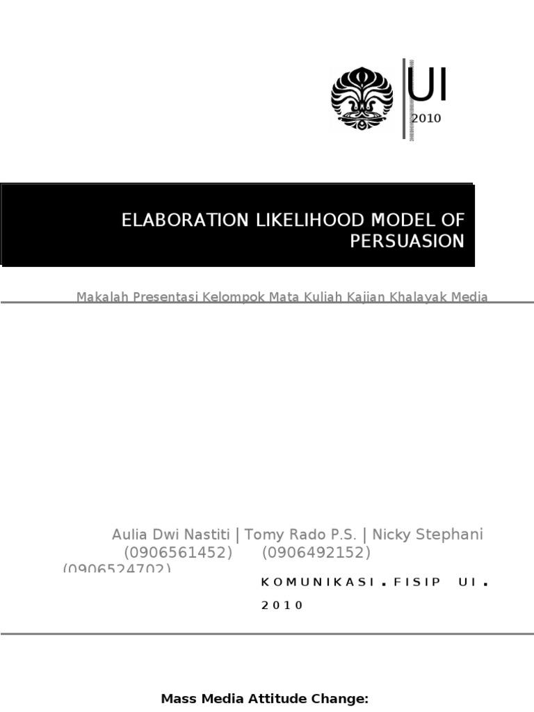 essay elaboration likelihood model