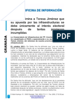 Concha de Santa Ana, ha culpabilizado al PSOE y especialmente a su secretaria general, Teresa Jiménez, del retroceso de nuestra provincia en materia de infraestructuras