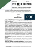 DECRETO 1011 de 2006 Establece El Sistema Obligatorio de Gar
