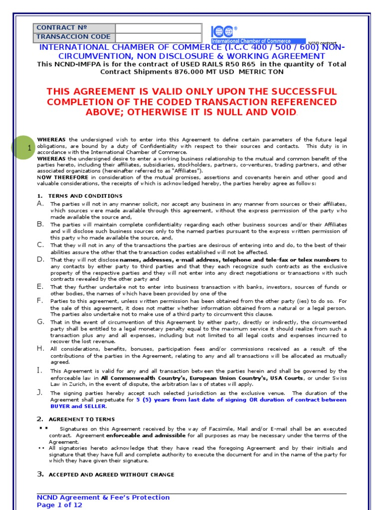Ncda Imfpa Template Signature Financial Transaction