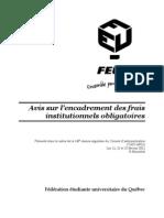 FR - Avis sur l'encadrement des frais institutionnels obligatoires