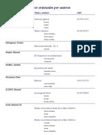 Listado de Libros Por Autor