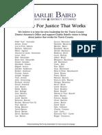 Baird Releases Unprecedented List Of Supporters