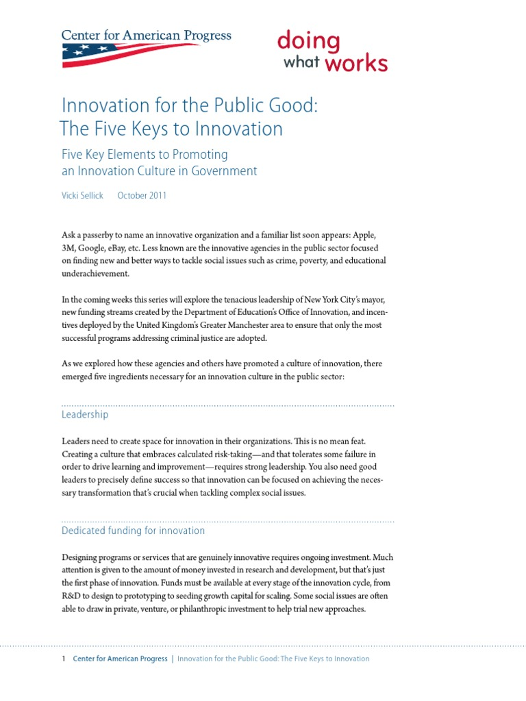 Innovation for the Public Good: The Five Keys to Innovation