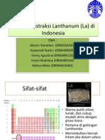 Potensi Ekstraksi Dan Pengolahan Lanthanum Di Indonesia Beta Version
