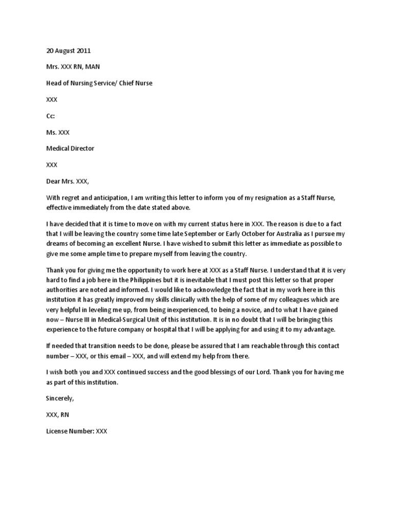 Nursing Letter Of Resignation from imgv2-1-f.scribdassets.com