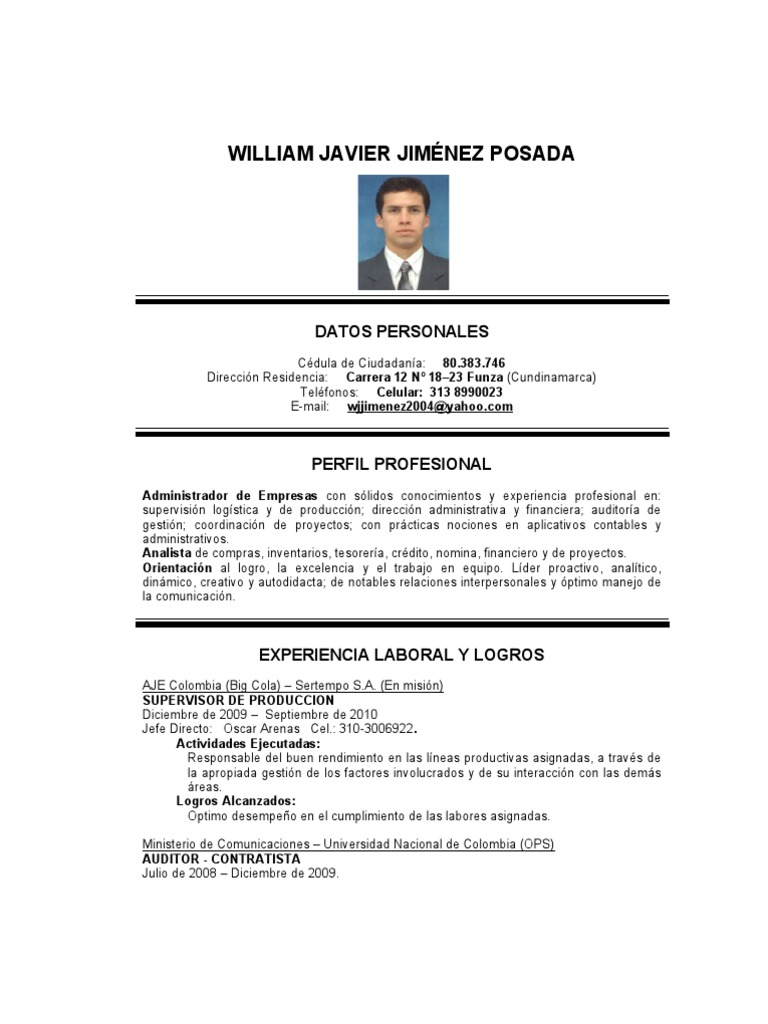 Hoja de Vida William Jimenez 11112011 c