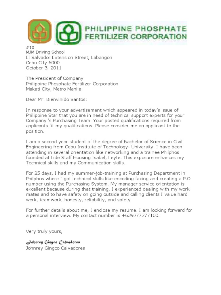 Great Sample Solicited Application Letter For Tecnical Writing   Philippines    Communication