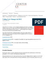 Executive Summary of Voting Law Changes in 2012