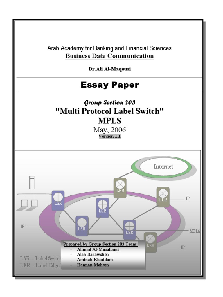 MPLS Essay Paper | Multiprotocol Label Switching | Virtual Private ...