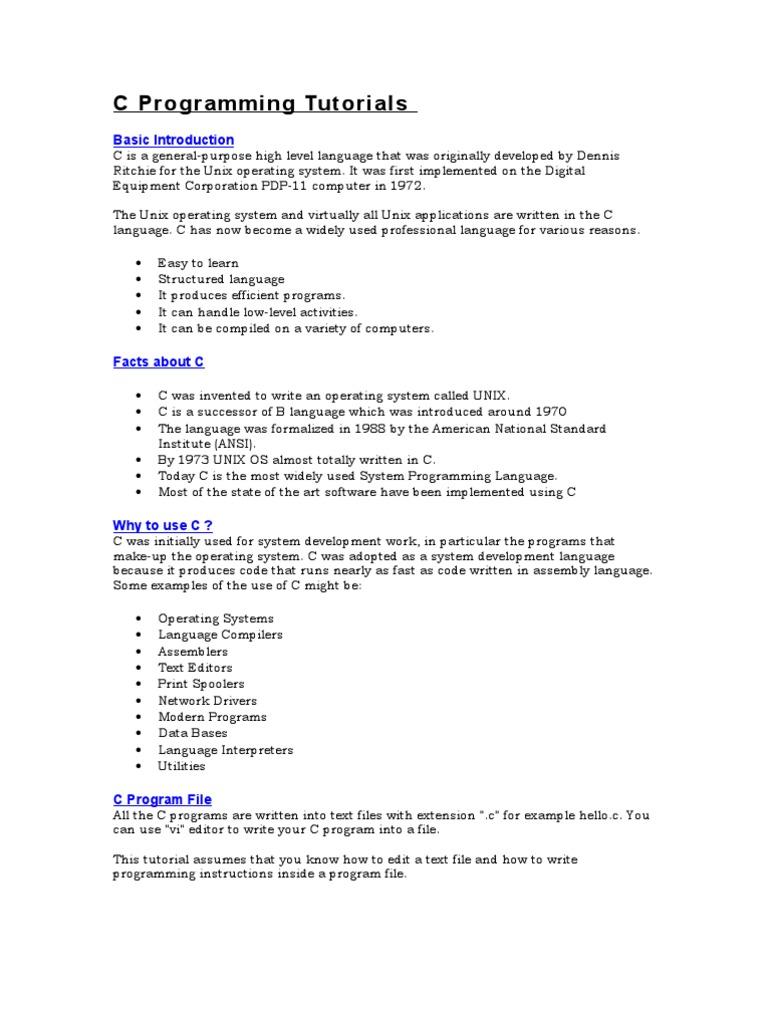 C programming tutorials doc c programming language control flow baditri Gallery